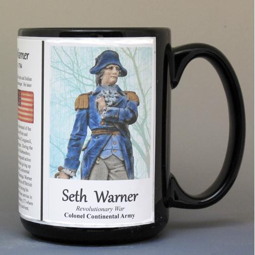 Seth Warner, American Revolutionary War biographical history mug.