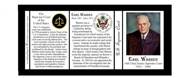 Earl Warren, Chief Justice, US Supreme Court history mug tri-panel.