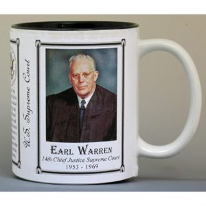 Earl Warren, Chief Justice, US Supreme Court history mug.