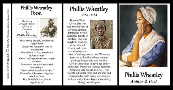 Phillis Wheatley, Revolutionary War era, African-American poet biographical history mug tri-panel.