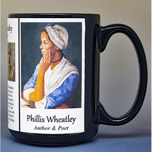 Phillis Wheatley, Revolutionary War era, African-American poet biographical history mug.