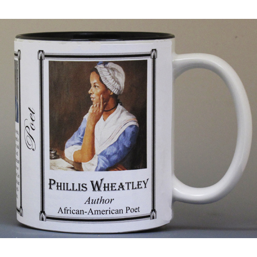 Phillis Wheatley, Revolutionary War era, African-American author and poet history mug.