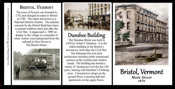 Town of Bristol, Vermont, biographical history mug tri-panel.