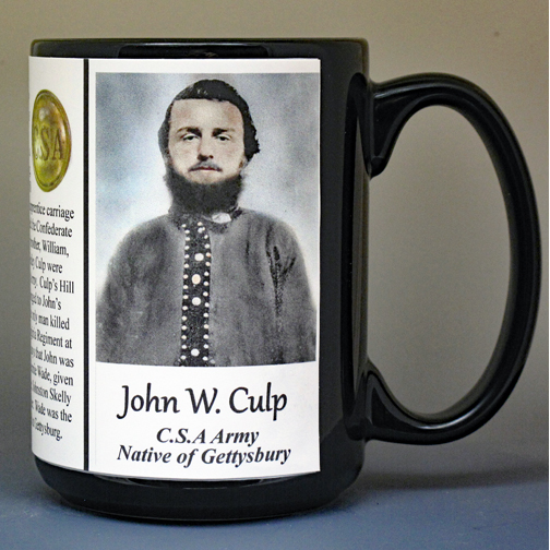 John Wesley Culp, US Civil War, Gettysburg, biographical history mug.