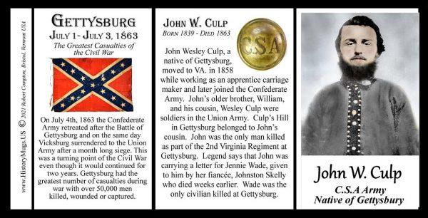 John Wesley Culp, US Civil War, Gettysburg, biographical history mug tri-panel.