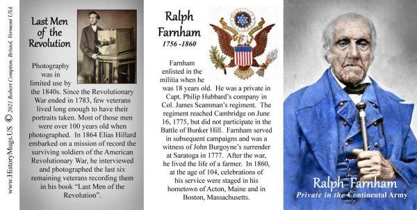 Ralph Farnham, Continental Army biographical history mug tri-panel.