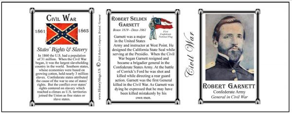 Robert Garnett, Civil War Confederate Army history mug tri-panel.