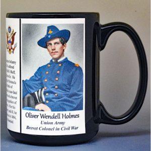 Oliver Wendell Holmes Jr, Union Army, US Civil War biographical history mug.