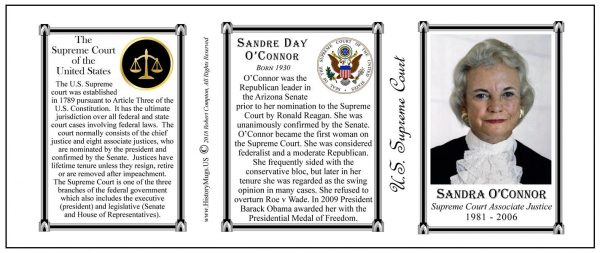 Sandra Day O'Connor, US Supreme Court, first female associate justice,  history mug tri-panel.