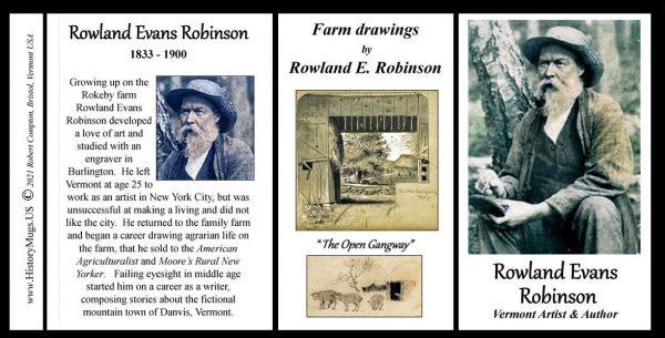 Rowland Evans Robinson, artist, and author biographical history mug tri-panel.