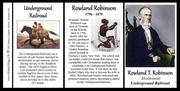 Rowland Thomas Robinson, abolitionist biographical history mug tri-panel.