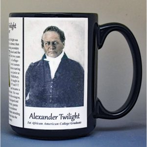 Alexander Twilight, 1st African American College Graduate biographical history mug.
