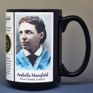 Arabella Mansfield, women's suffrage, biographical history mug.