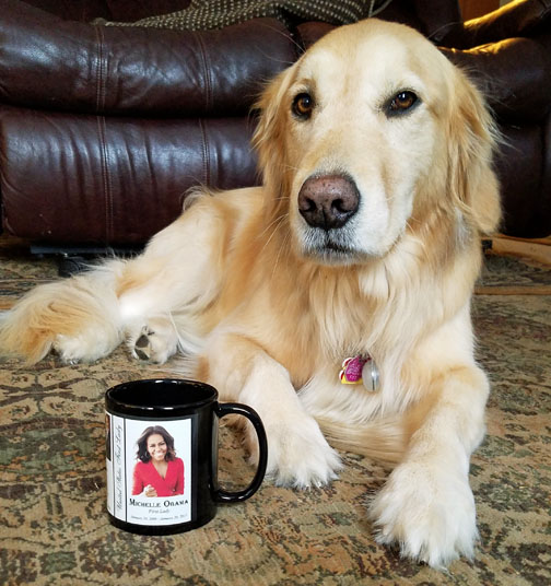 Nuka says her favorite history mug is this one of First Lady Michelle Obama.