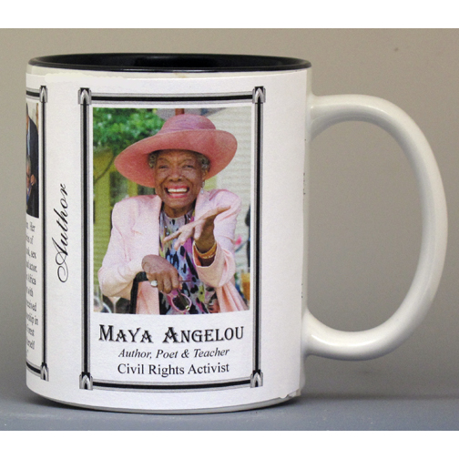 Maya Angelou, American author biographical history mug.