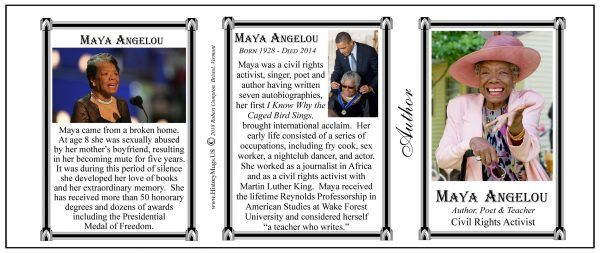 Maya Angelou, American author biographical history mug tri-panel.