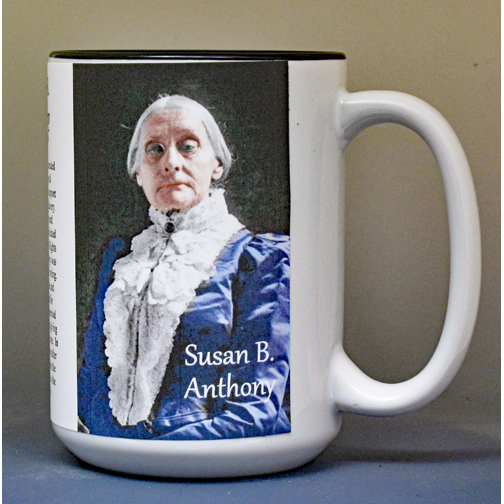 Susan B. Anthony, women's suffrage biographical history mug.