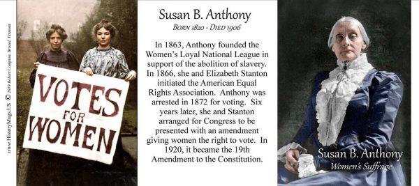 Susan B. Anthony, women's suffrage biographical history mug tri-panel.