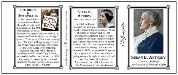 Susan B. Anthony American Suffragette biographical history mug tri-panel.