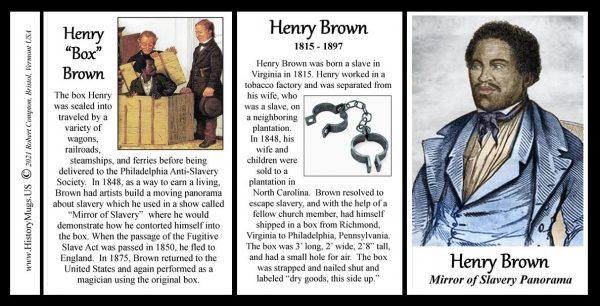 "Henry ""Box"" Brown, escaped slavery, ""pre"" Civil War biographical history mug tri-panel."