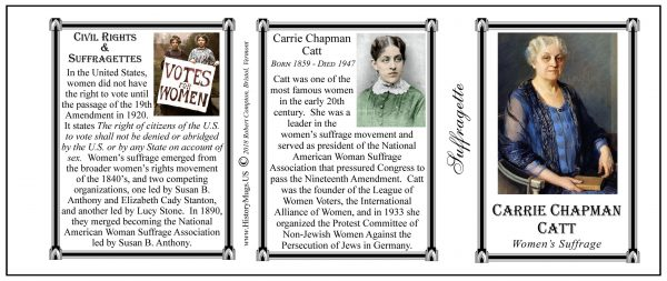 Carrie Chapman Catt American Suffragette biographical history mug tri-panel.