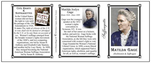 Matilda Joslyn Gage American Suffragette biographical history mug tri-panel.