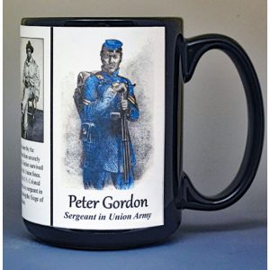 """Whipped Peter"" Gordon, Union Army, US Civil War biographical history mug."