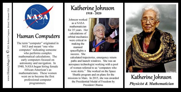 Katherine Johnson, NASA mathematician and physicist, biographical history mug tri-panel.