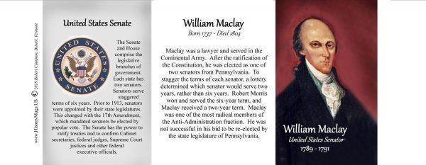 William Maclay, U.S. Senator biographical history mug tri-panel.