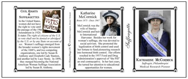 Katharine McCormick Suffragette biographical history mug tri-panel.
