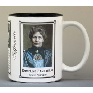 Emmeline Pankhurst, British Suffragette biographical history mug.