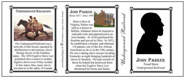 John Parker, Civil War Union civilian biographical history mug tri-panel.