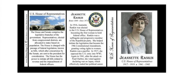 Jeannette Rankin US House of Representative biographical history mug tri-panel.