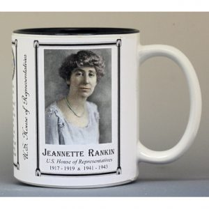 Jeannette Rankin US House of Representative biographical history mug.