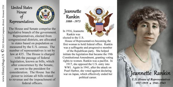 Jeannette Rankin, US House of Representatives biographical history mug tri-panel.