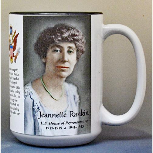 Jeannette Rankin, US House of Representatives biographical history mug.