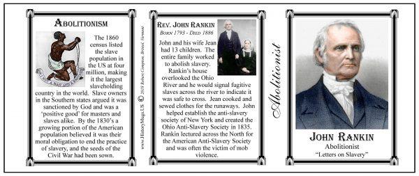 John Rankin, Abolitionist biographical history mug tri-panel.