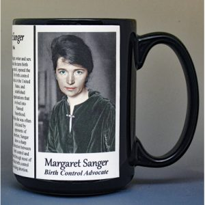Margaret Sanger, women's suffrage biographical history mug.