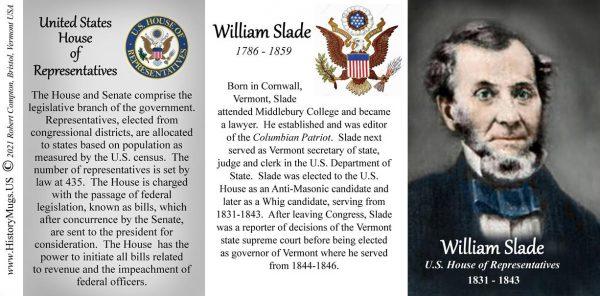 William Slade, US Representative biographical history mug tri-panel.