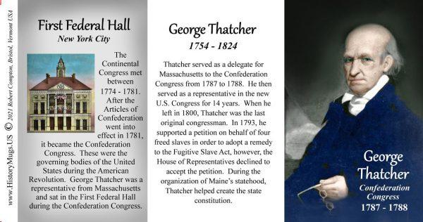 George Thatcher, Confederation Congress biographical history mug tri-panel.