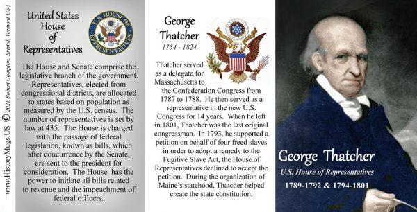 George Thatcher, US Representative biographical history mug tri-panel.