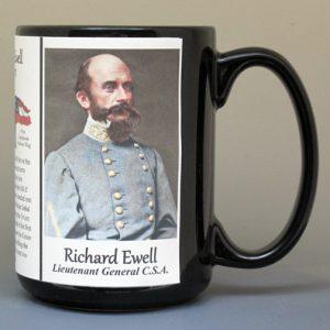 Richard Ewell, Civil War Confederate Army Gettysburg biographical history mug.