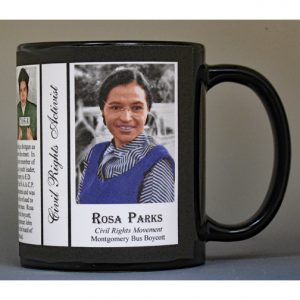 Rosa Parks, Civil Rights biographical history mug.