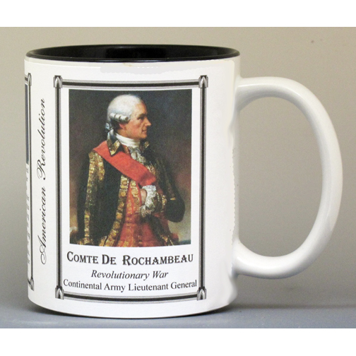 Comte de Rochambeau, Revolutionary War biographical history mug.