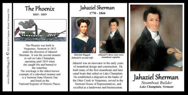 Jahaziel Sherman, Vermont Steamship builder, biographical history mug tri-panel.