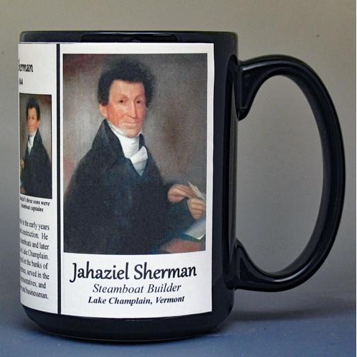 Jahaziel Sherman, Vermont Steamship builder, biographical history mug.
