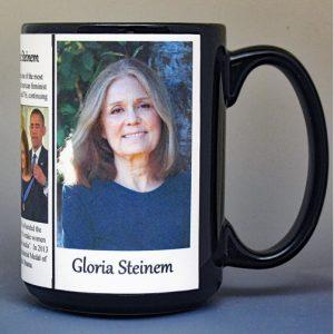 Gloria Steinem, women's rights biographical history mug.