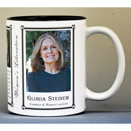Gloria Steinem, Women's Rights biographical history mug.