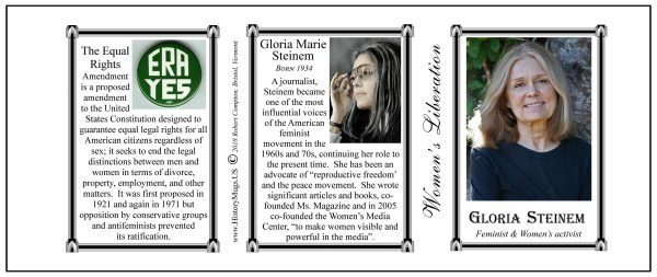 Gloria Steinem, Women's Rights biographical history mug tri-panel.