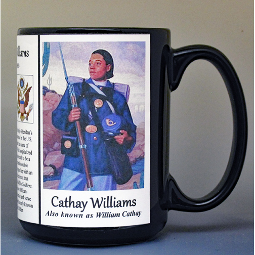 Cathay Williams, Buffalo Soldiers biographical history mug.